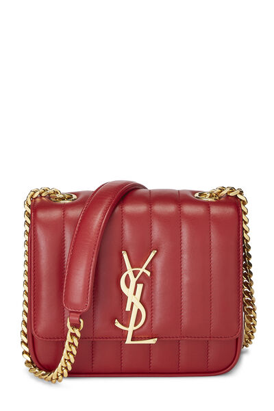 Red Quilted Lambskin Vicky Crossbody Small