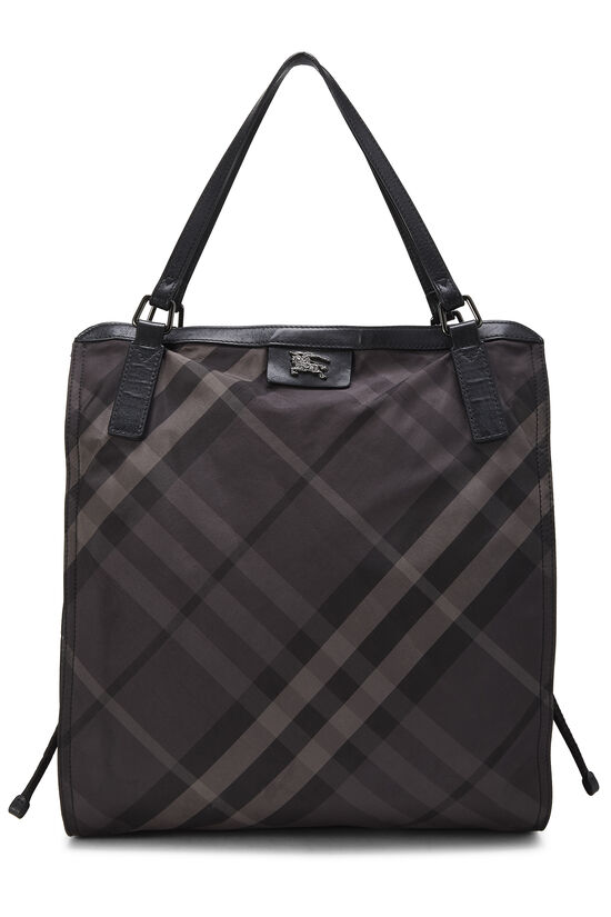 Black Check Nylon Buckleigh Tote, , large image number 0