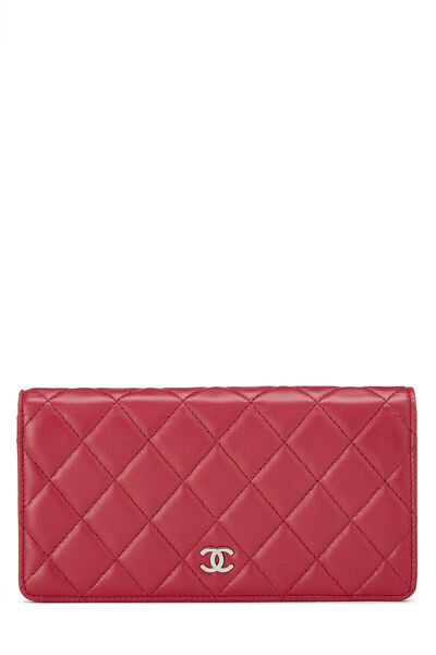 Pink Quilted Lambskin Long Wallet