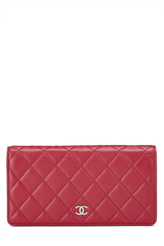 Pink Quilted Lambskin Long Wallet, , large image number 0