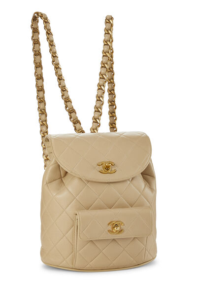 Beige Quilted Lambskin 'CC' Classic Backpack Small, , large