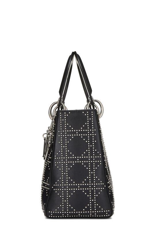 Black Cannage Studded Lambskin Lady Dior Medium, , large image number 3