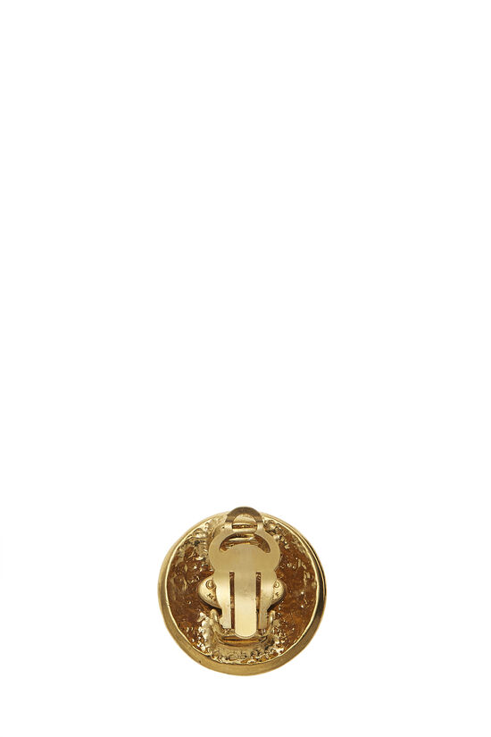 Gold Round 'CC' Earrings Small, , large image number 1