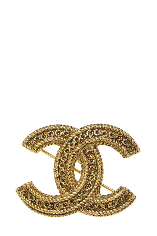 Gold Fretwork 'CC' Pin, , large image number 0