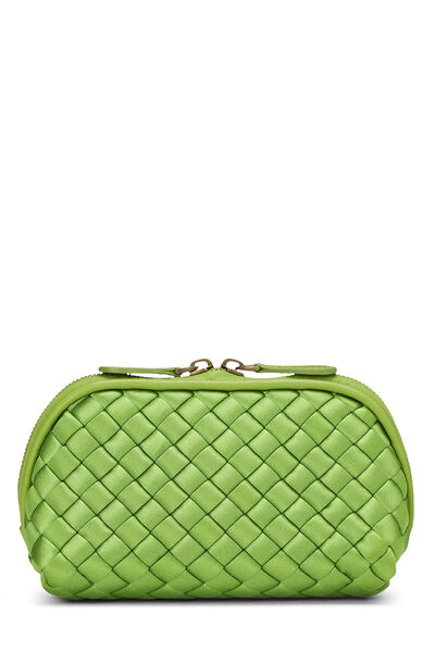 Green Intrecciato Satin Cosmetic Pouch