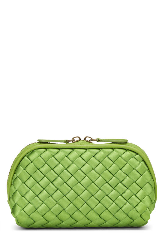 Green Intrecciato Satin Cosmetic Pouch, , large image number 0