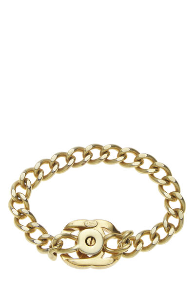 Gold & Crystal 'CC' Turnlock Bracelet Small, , large