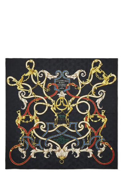 Black & Multicolor 'L'Instruction du Roy' Silk Scarf 90