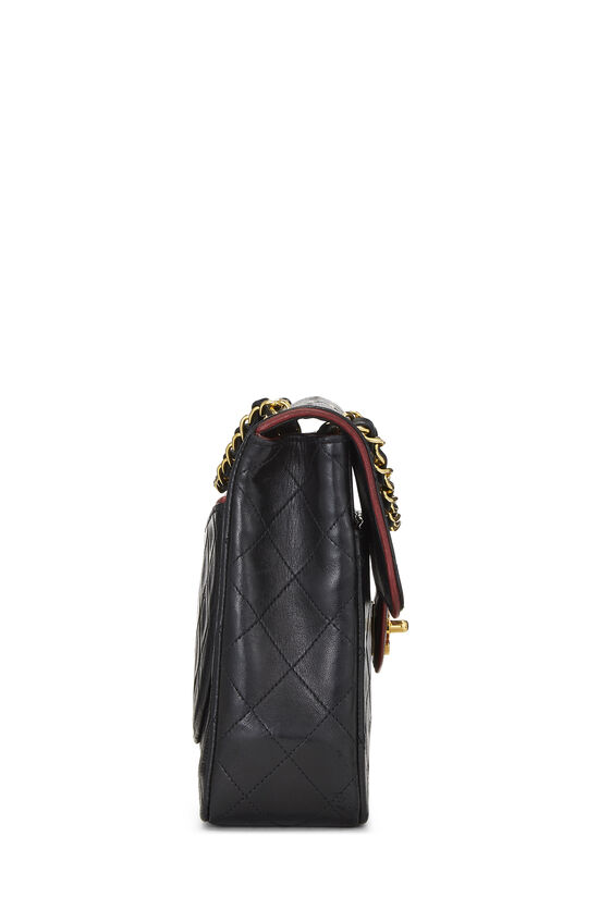 Black Quilted Lambskin Piped Half Flap Small, , large image number 2