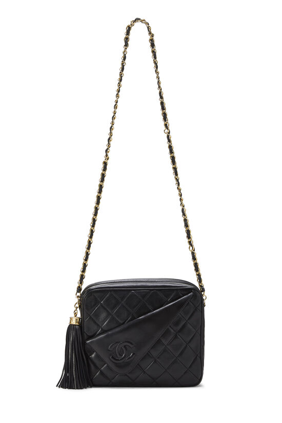 Black Lambskin Diagonal Camera Bag Small, , large image number 6
