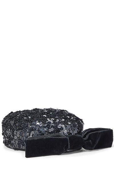 Black Sequin Pillbox Hat, , large