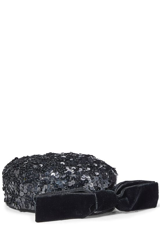 Black Sequin Pillbox Hat, , large image number 1