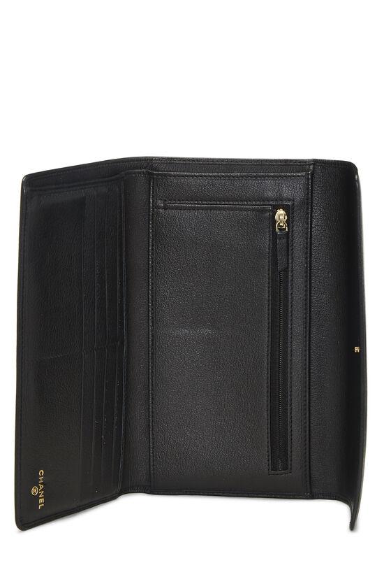 Black Calfskin Camellia Wallet, , large image number 3
