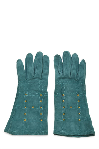 Green Suede Studded Gloves