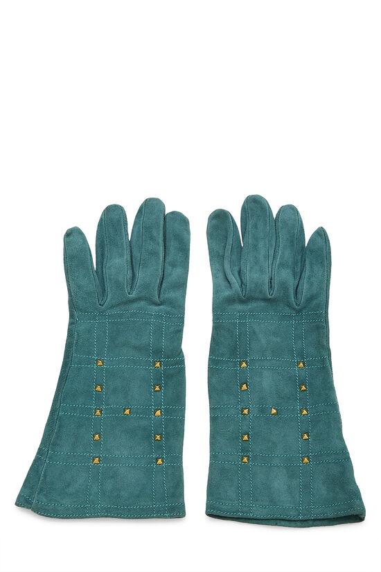 Green Suede Studded Gloves, , large image number 0
