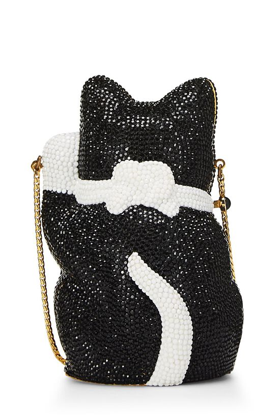 Black & White Swarovski Crystal Cat Minaudière, , large image number 3