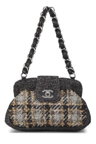 Black & Beige Tweed Shoulder Bag