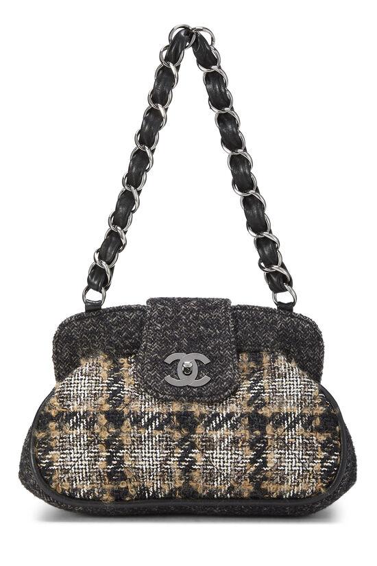Black & Beige Tweed Shoulder Bag, , large image number 0