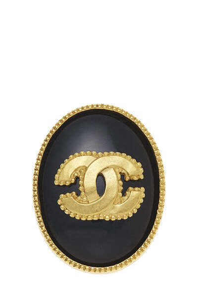 Gold & Black 'CC' Oval Pin