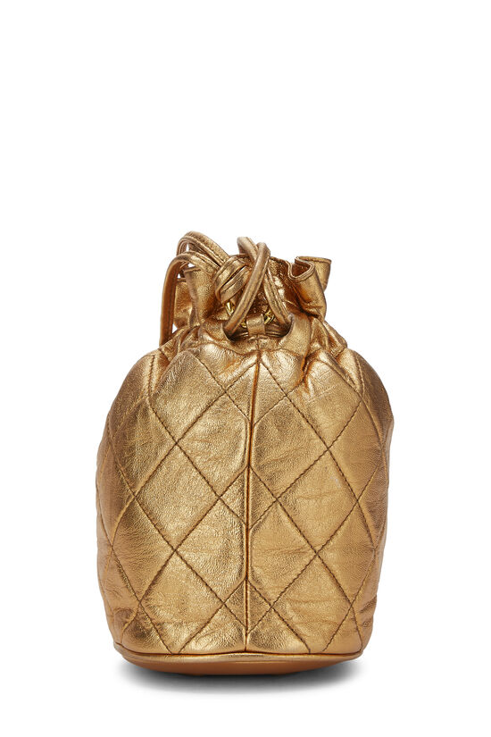 Metallic Copper Quilted Lambskin Bucket Bag Mini, , large image number 2