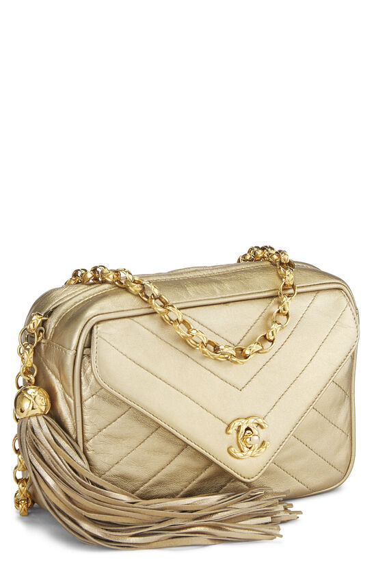 Gold Chevron Quilted Lambskin Pocket Camera Bag Mini, , large image number 2