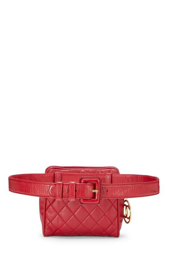 Red Quilted Lambskin Belt Bag 30, , large image number 3