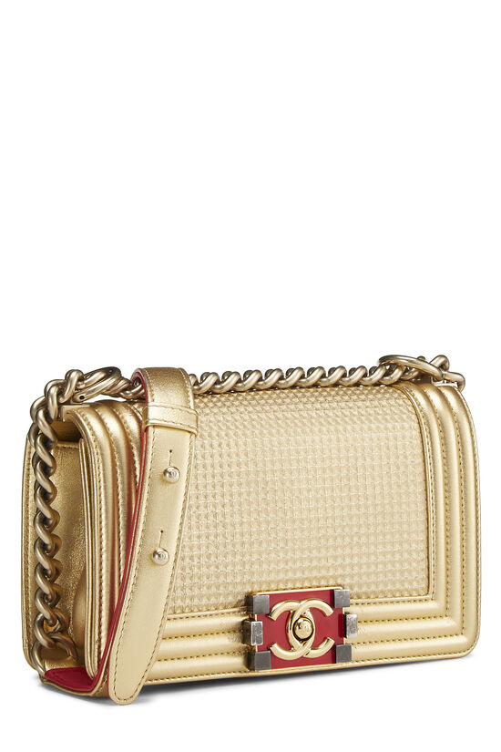 Metallic Gold Quilted Calfskin Boy Bag Small, , large image number 2