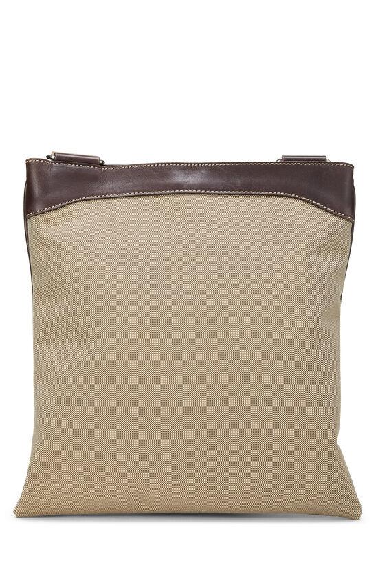 Beige Logo Canvas Messenger Bag, , large image number 3