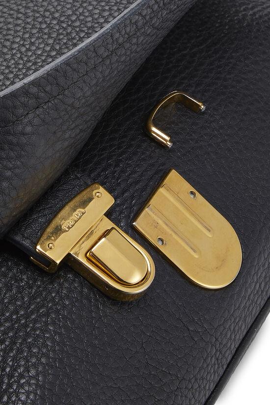 Black Vitello Daino Shoulder Bag, , large image number 6