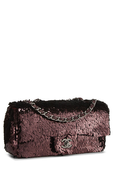 Burgundy Sequin Half Flap Small, , large