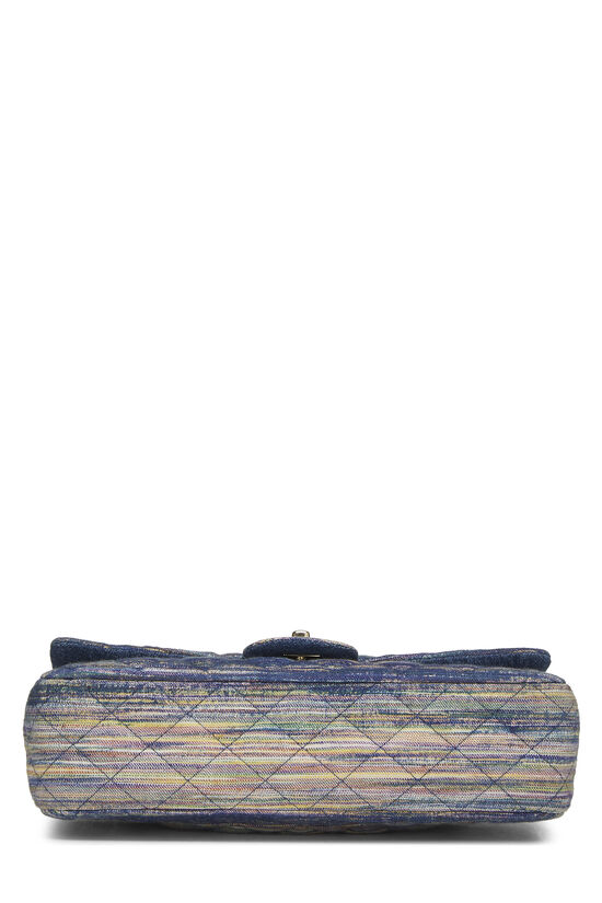 Multicolor Quilted Denim Classic Double Flap Medium, , large image number 4