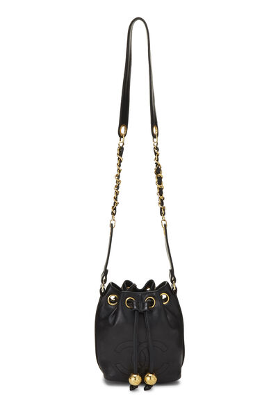 Black Lambskin 'CC' Bucket Bag Small, , large