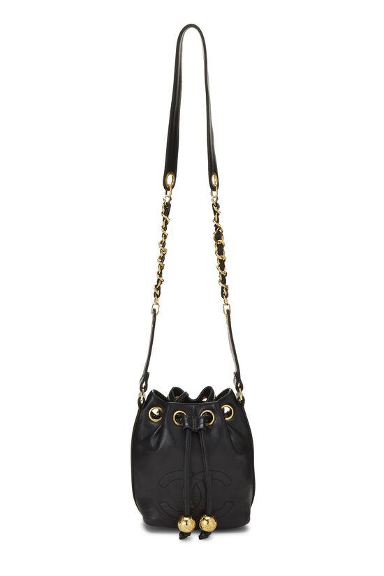 Black Lambskin 'CC' Bucket Bag Small, , large image number 1