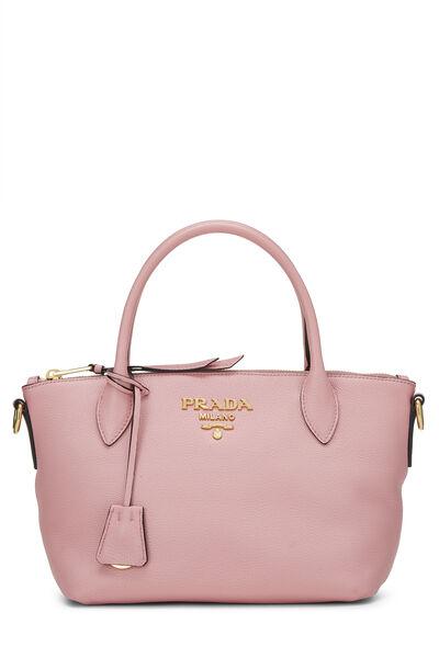 Pink Vitello Daino Handbag Small