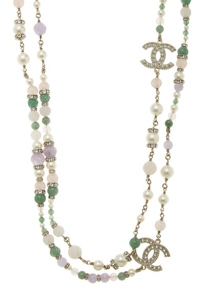 Gold & Multicolor Beaded Double Strand Necklace, , large