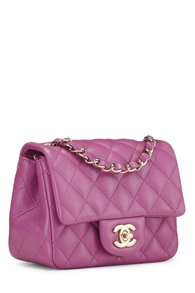 Purple Quilted Lambskin Classic Square Flap Mini, , large