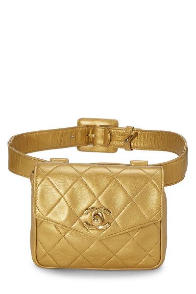 Gold Quilted Lambskin Envelope Belt Bag