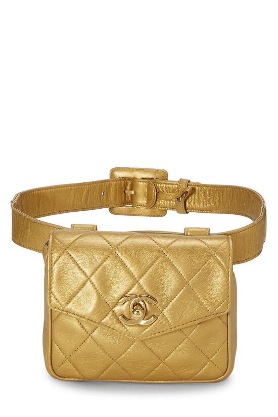 Gold Quilted Lambskin Envelope Belt Bag, , large image number 0