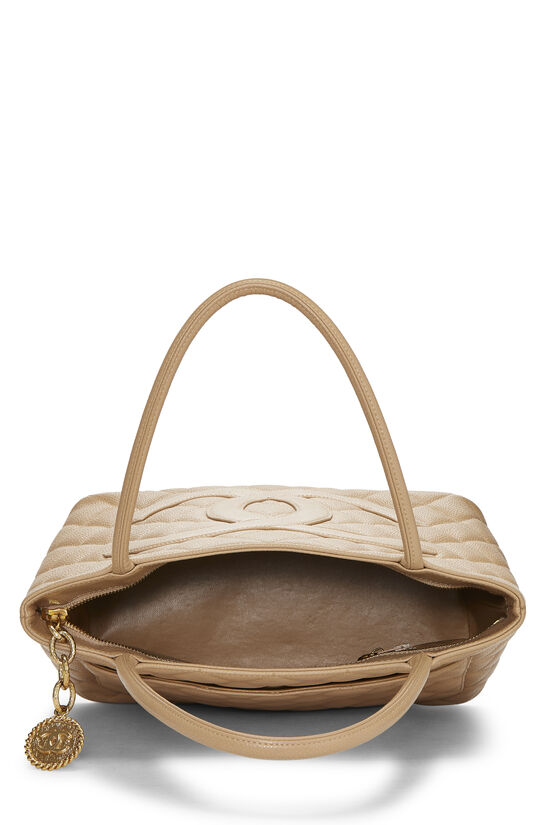 Beige Quilted Caviar Medallion Tote, , large image number 5