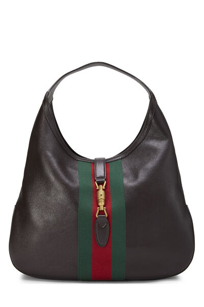 Brown Leather Web Jackie Soft Hobo Large