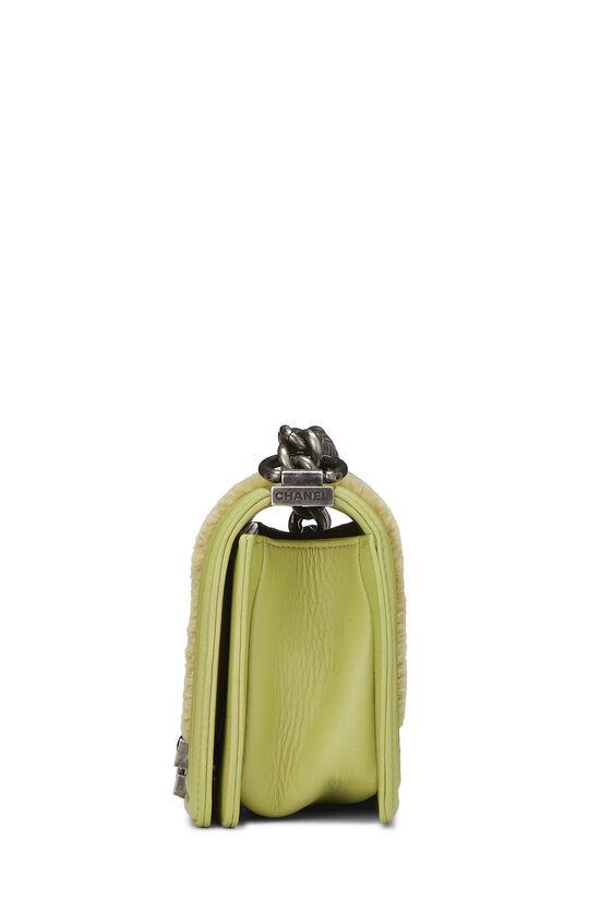 Green Fur & Calfskin Boy Bag Small, , large image number 3