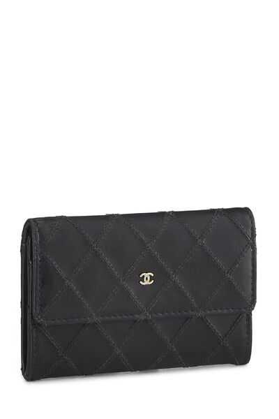 Black Quilted Lambskin Card Holder, , large