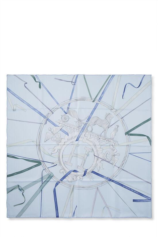 Blue 'Attrape Tes Reves' Silk Scarf 90, , large image number 0