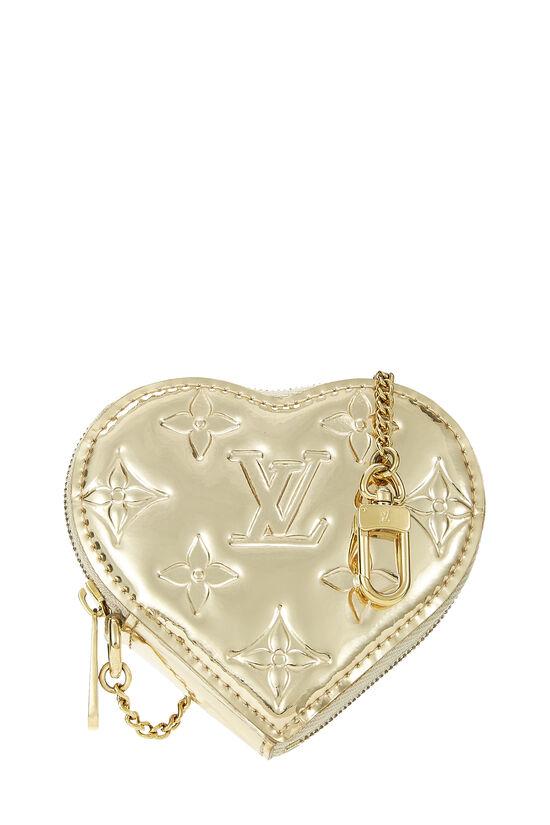 Gold Monogram Miroir Coeur Heart Coin Purse, , large image number 0