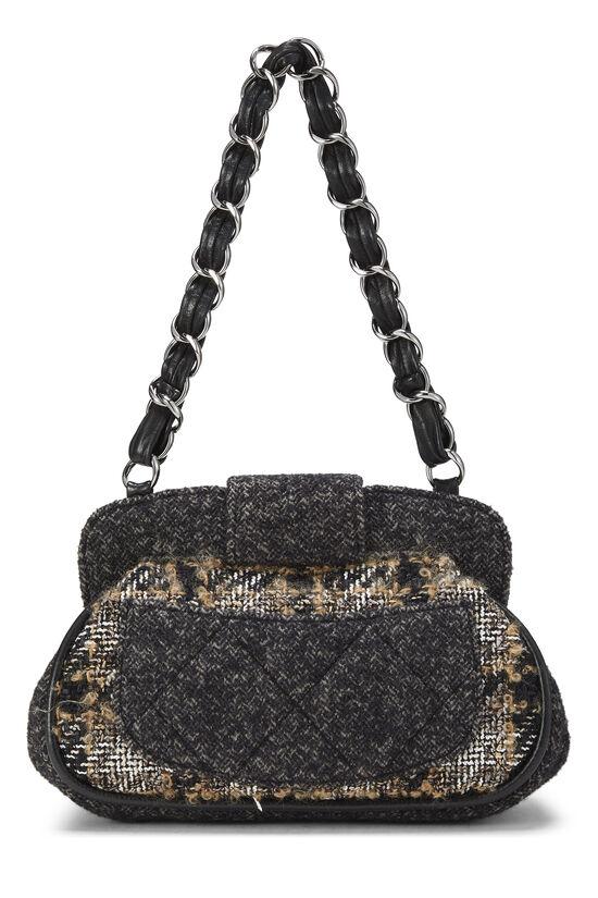 Black & Beige Tweed Shoulder Bag, , large image number 3