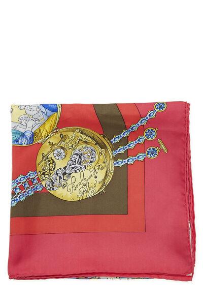 Pink & Multicolor 'La Ronde des Heures' Silk Scarf 90, , large