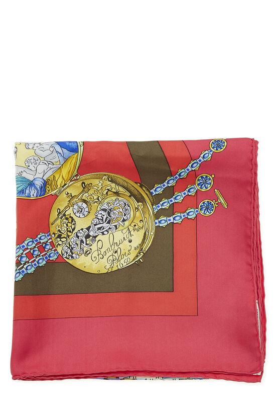 Pink & Multicolor 'La Ronde des Heures' Silk Scarf 90, , large image number 1