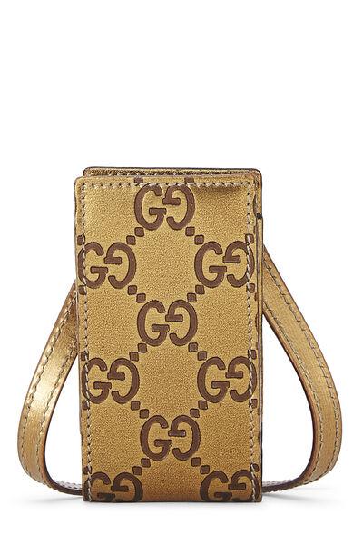 Gold Gucci Signature Leather Pouch Mini