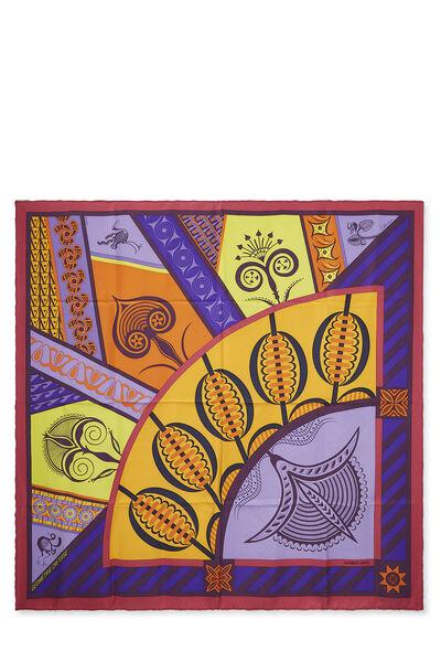 Purple & Multicolor 'Geometrie Cretoise' Silk Scarf 90