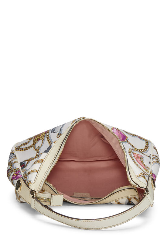 White & Multicolor Satin Charmy Hobo, , large image number 5